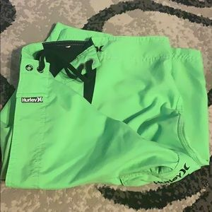 Men's lime green Hurley swim shorts